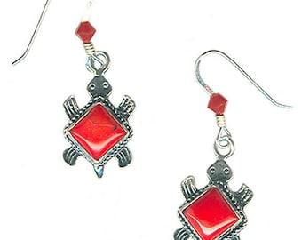red coral sterling silver turtle earrings medium