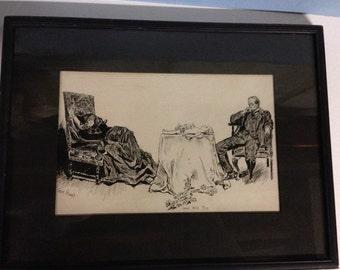 Antique Ink Sketch Love Will Die by Corinnt Stewart