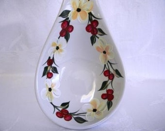 Spoon rest-Hand painted spoon rest-painted white flowers-painted red berries