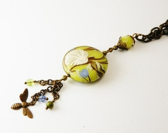 Humblebeads Polymer Bead  Necklace / Lemon Jasper /  Vintaj Brass  / Boho Chic / Woodland