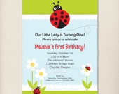 Custom Lady Bug Birthday Invite First Birthday- Personalized Printable Digital Invitation - Personal Use Only