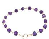 Squares of Deep Purple Amethyst Faceted Bracelet