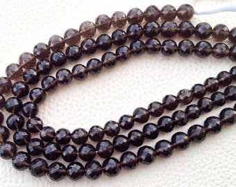 Brand New, Full 8 Inch Strand SMOKY QUARTZ Faceted Balls,8mm,Amazing Item at Low price,Superb Quality