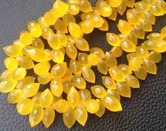 Brand New 1/2 Strand, MADERA Chalcedony Micro Faceted Dew Drops Briolettes,11-12mm Long size,Gorgeous