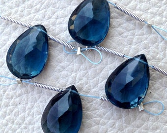 12 Cts, JUST 2 Focal Piece, London BLUE TOPAZ Faceted Giant Pear, 14-15mm Long Aprx.,Amazing Rare Size at Low Price.