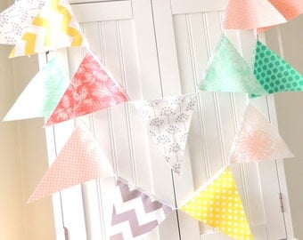 Fabric Banner, Bunting, Pennant Flags, Garland Emerald, Peach, Mint, Grey, Yellow, Coral, Wedding Decor, Photo Prop, Baby Nursery Decor