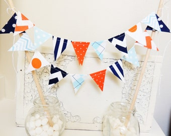 Boy Cake Topper Banner, Party Cake Bunting, Fabric Pennant Flags, Birthday, Baby Shower, Chevron, Argyle, Orange, Light Blue, Navy, Grey
