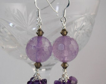 Amazing Amethyst and Swarovski crystal Dangle Earrings February Birth Stone Pisces