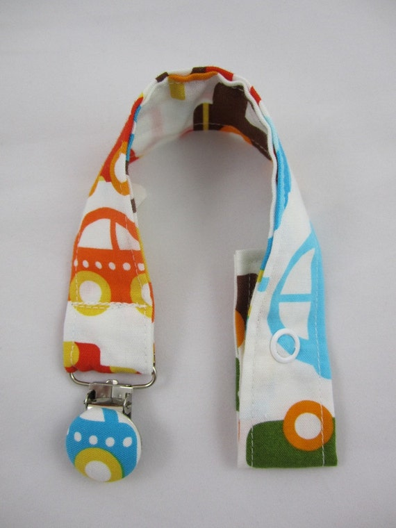 Car Fabric Pacifier Clip - Ann Kelle - Cars in Bermuda - Baby Boy - Ready Set Go - Organic Cotton - Embellished Suspender Clip
