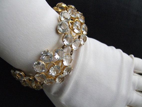 """Old Hollywood Vintage Crystal Bracelet 40's 50's Crystal Bracelet Sparkling Clear Open Back Prong Set Crystals 1"""" Flowers Statement Piece"""