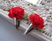 Cabbage Rose . baby snap clips . red satin . toddler hair accessory