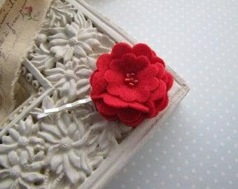 Scarlet . bobby pin . felt flower . girls hair accessory . red