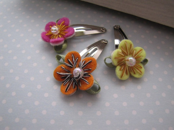 Wildflowers . baby snap clips . toddler hair accessory . pink orange yellow