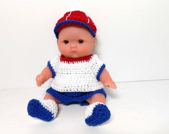 Berenguer Lots to Love Red White and Blue Doll, Fourth of July Doll, 5 Inch Doll, Crocheted Doll Clothes, Boy Doll Outfit