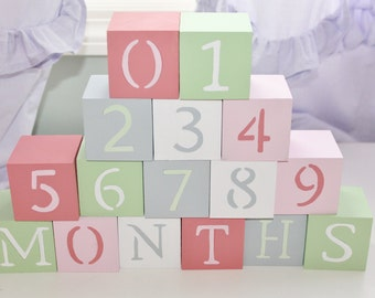 Baby Blocks- Photo Prop for Monthly Baby Pictures- Set of 16 Blocks- Multicolor CORAL, MINT, GRAY