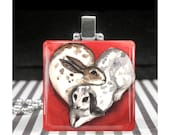 Bunny Rabbit Necklace Red Heart Bunnies Glass Tile Charm Pendant Silver Easter Gifts for Girls I Love You Jewelry Ever & Anon