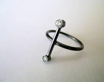 Oxidized Silver Ring Handmade Ring Oxidized Silver Zirconium Ring