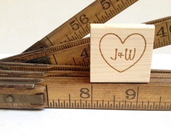 """READY to SHIP. Custom Heart and Initials Stamp for DIY Wedding Decor. 1""""x1"""". Overstock. Please see final image!!"""