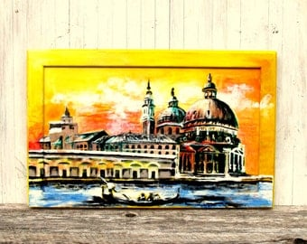 Sunset on the Grand Canal - Acrylic Painting of Venice on Recycled Cupboard Door