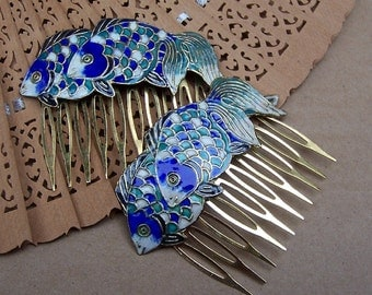 Vintage hair combs 2 Chinese cloisonne blue green fish hair accessory hair pin hair jewelry headdress headpiece hair ornament