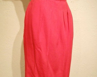 FINAL SALE Coral Red Cuddles - Early 1960s Coral Red Cotton Wiggle Pencil Skirt w/Pockets - 4/6