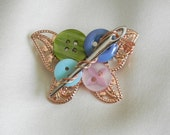 Butterfly needle button brooch