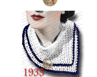 Vintage Scarf Collar to Crochet for Women Circa 1935 - PDF Pattern Instant Download - PrettyPatternsPlease