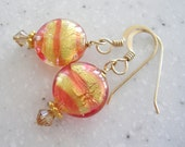 Rose and Gold Venetian Glass Small Discs Earrings