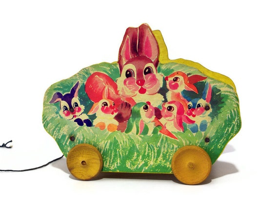 Vintage Bunny Wagon, Toy Kraft, 1940s Easter Decor
