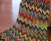 Crazy Cozy/ Hand crochet afgan/ zig-zag pattern/ yarns from my treasured picks