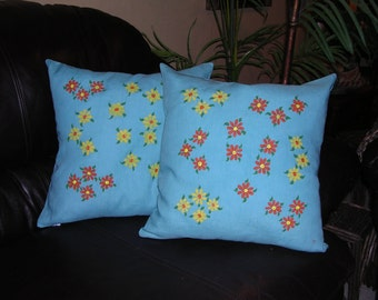 SPRING SPECIAL Hand dyed, hand painted daisy flower washable linen pillow covers pair OOAK