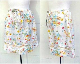 Floral Cotton Summer Skirt Short Vintage 1960s 1970s Haymaker