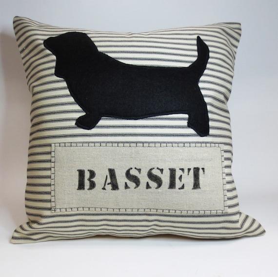 Basset Hound Felt Pillow - Decorative throw pillow cushion cover, Basset Hount Felt Silhouette Decorative Pillow, Name Pillow, pet pillow