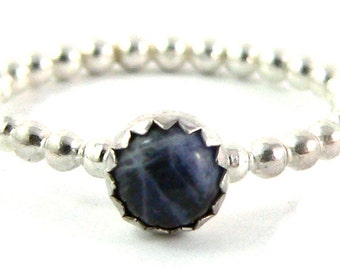 Sodalite Cabochon Sterling Silver Stacking Ring