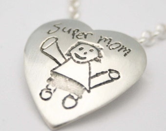 Heart Pendant Personalized with Child's Drawing