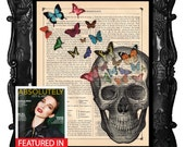 Human skull Print on book page - Science prints wall art- Anatomy prints with butterflies on antique book page wall decor