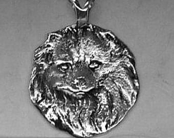 Large Pomeranian Dog Pendant  Sterling Free Shipping