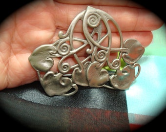 1988 Pewter Like Art  Deco Leaf Pin.