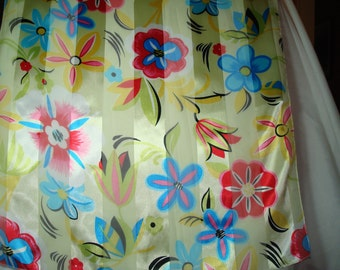 1980s Silky Simmering Flowered Scarf.