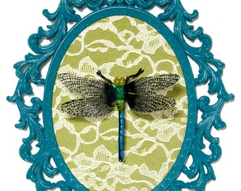 Dragonfly - Victorian Framed Object - Wall Art Decor 10.5x13.5in
