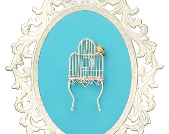 Birdcage with Bird - Victorian Framed Object - Wall Art Decor 10.5x13.5