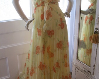 Vintage 60s Yellow and Orange Long Pleated Halter Dress and Matching Jacket free shipping