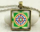 Sacred Geometry, Shri Yantra Symbol, Sri Chakra Sign Pendant Necklace