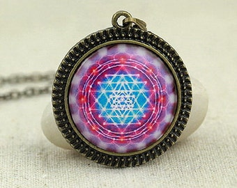Violet and Blue Sacred Geometry Sri Yantra of Creation Necklace, Altered Art, Glass Pendant Necklace Charm, Vintage Style, NEW