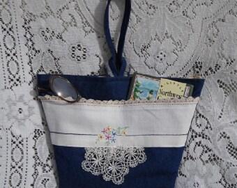 Purse Sweet Little Denim Wristlet  Vintage Textiles