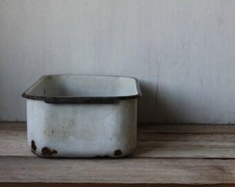 Vintage Enamelware Pan, Farmhouse, Storage