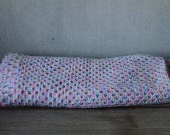 Vintage Multi-Colored Baby Blanket, Hand Crocheted
