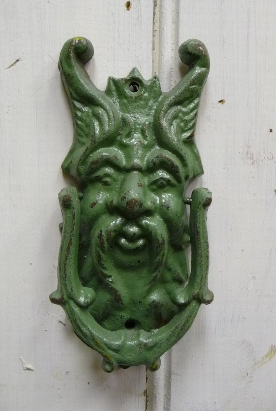 Forest Man Doorknocker Gargoyle North Wind Face Green Rustic
