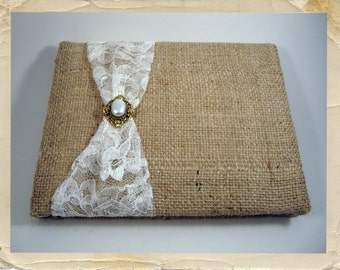 Rustic Burlap and Lace Wedding Guest Book - Choose Your Colors