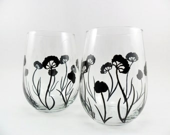 Stemless Wine Glasses Hand Painted Black Flower Contemporary Design Hand Painted Wine Glass Set of 2